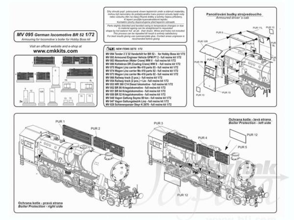 1/72 German locomotive BR 52 Armouring for locomotive's
