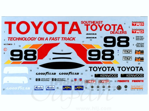 1/24 Toyota 88C 1989 IMSA Decal (for Hasegawa)