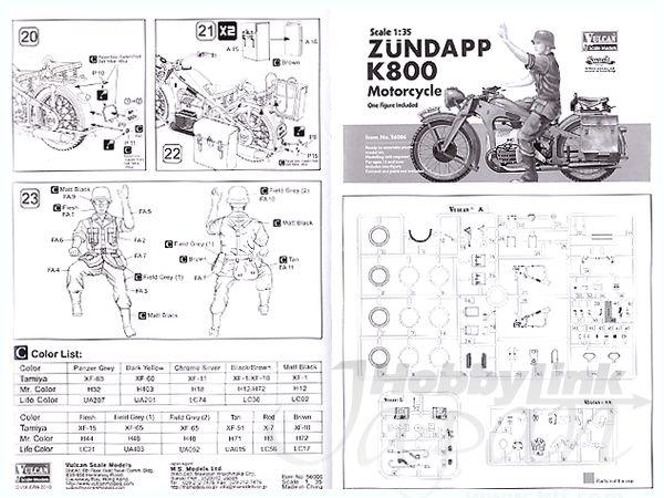 1/35 Zundapp K800 Motorcycle w/Figure by Vulcan Scale